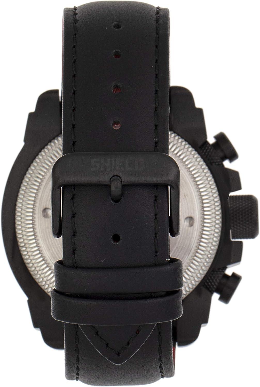 Shield Tesei Cronografo da uomo con cinturino in pelle e data Nero/Nero/Nero/Nero: Sldsh105-6.