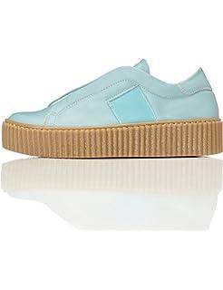 FIND Plateau Schuhe Damen Slipper mit Gerippter Sohle und Dekorativer Naht, Weiß (White), 39 EU