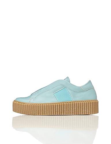 FIND Plateau Schuhe Damen Slipper mit Gerippter Sohle und Dekorativer Naht, Pink, 38 EU