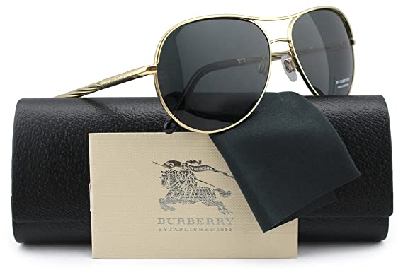 4848158f70f19 Burberry BE3082 Aviator Sunglasses Gold w Crystal Grey (1210 87) B 3082  121087 57mm Authentic  Amazon.ca  Clothing   Accessories