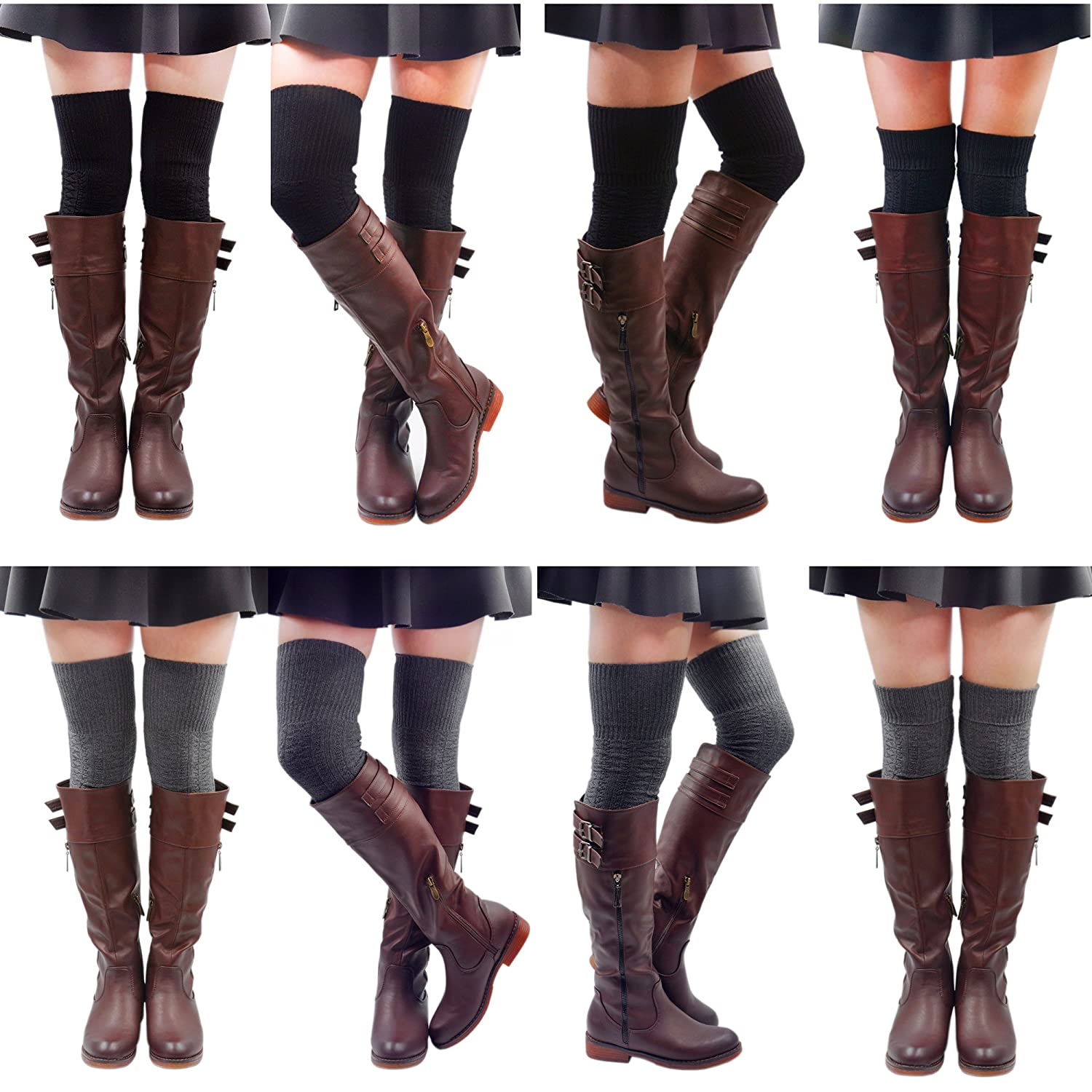 Kayhoma Extra Long Cotton Thigh High Socks Over the Knee High Boot Stockings Cotton Leg Warmers