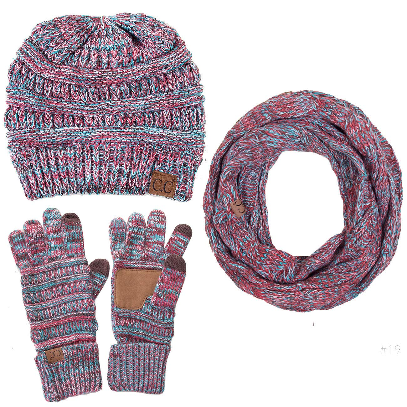 ScarvesMe 3pc Multi Tone Trendy Warm Chunky Soft Stretch Cable Knit Beanie, Scarves and Gloves Set