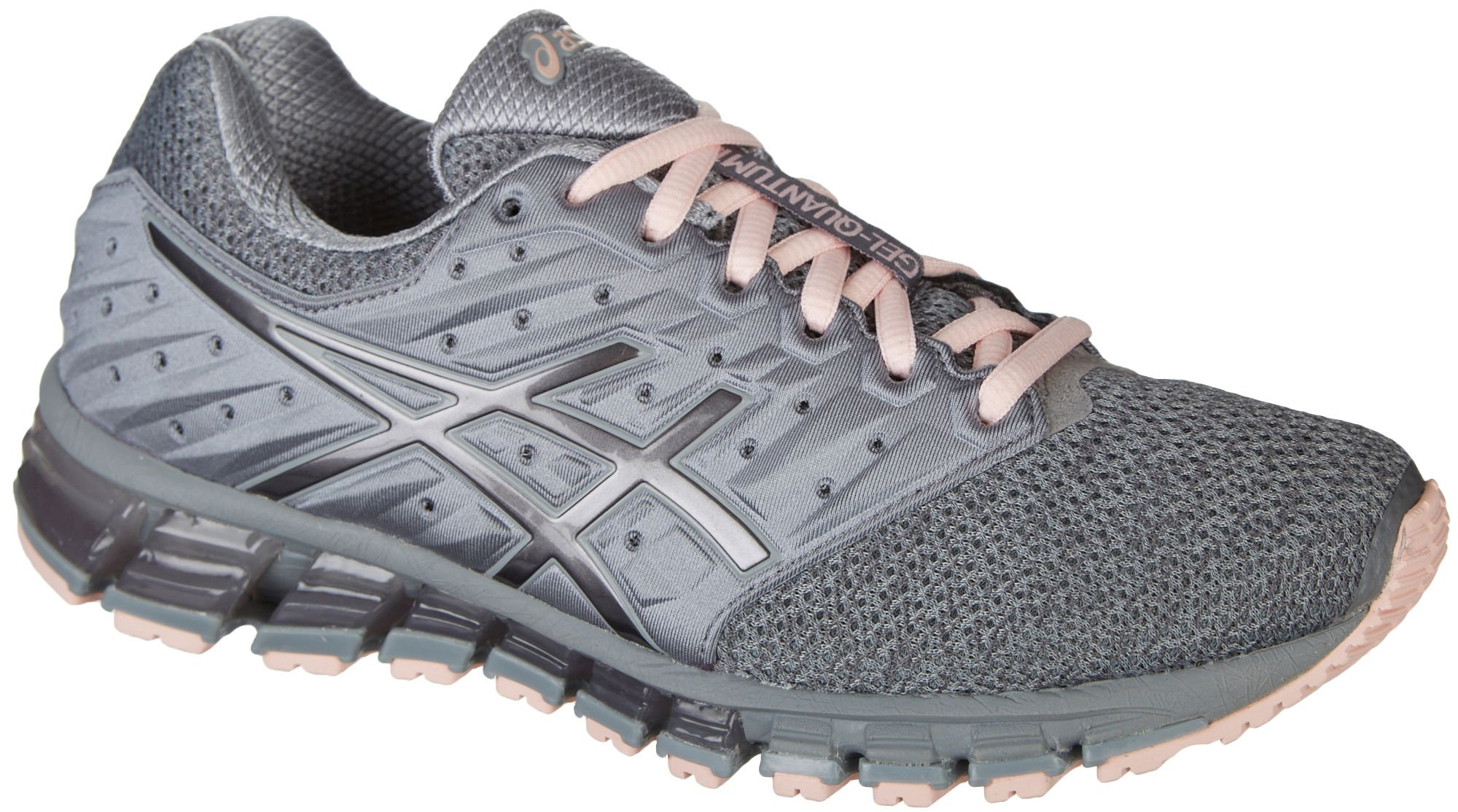 ASICS Womens Gel-Quantum 180 2 MX Running Shoe, Stone Grey/Carbon/Seashell Pink, Size 9