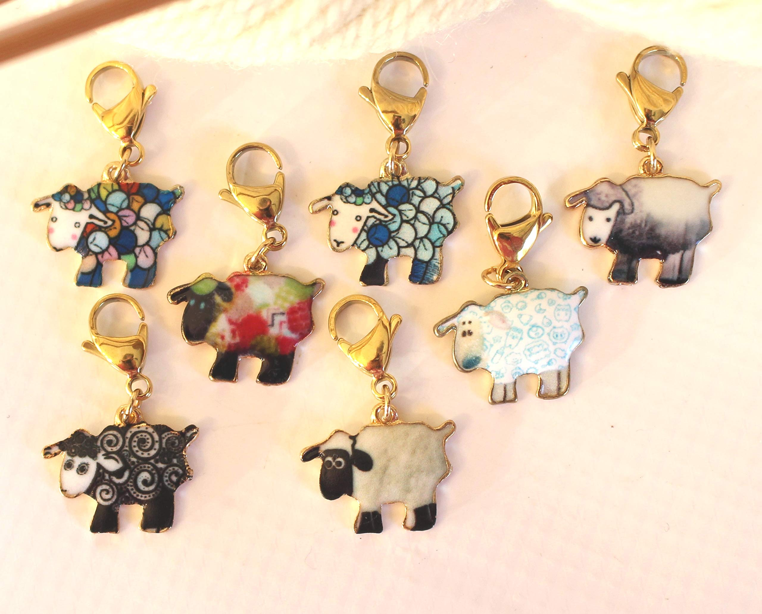Set of 7 Sheep Stitch Markers for Removeable Knitting Knit Pattern Crochet Reminder Stitchmarker Pattern Helper Knitter Gift Clasp