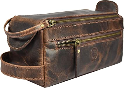 AARON LEATHER GOODS VENDIMIA ESTILOAaron Leather - Neceser de piel para hombre, 22,8 cm, kit de aseo de viaje, con forro impermeable, 9 x 4 x 4 Inch, Walnut, 1.00[set de ]: Amazon.es: Amazon.es