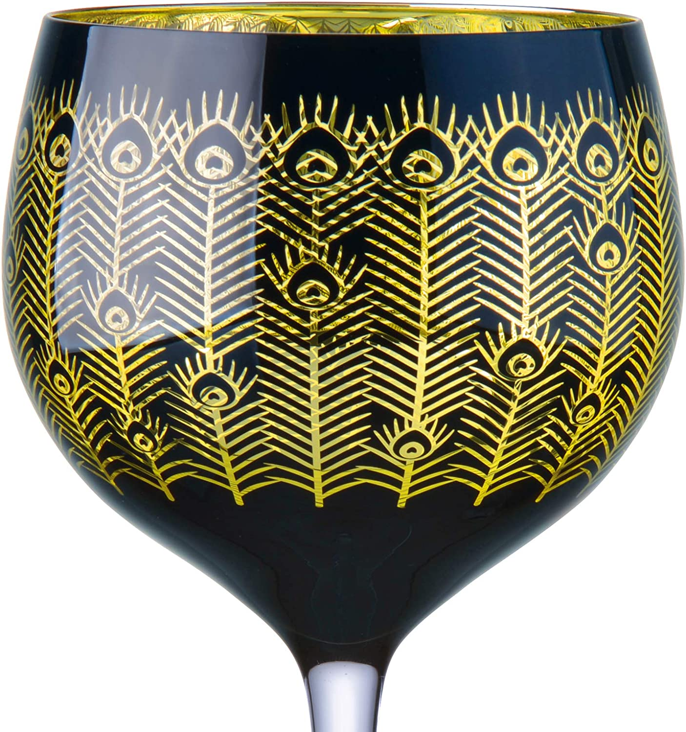 Detailed and Elegant Gold /& Black Feather Design Gold /& Black Set of 2 Artland 700ml Capacity Per Glass Midnight Peacock Gin Glasses Perfect Home Bar Addition