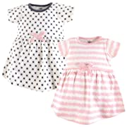 Touched by Nature Baby Girls' Organic Cotton Dress, 2 Pack, Pink Scribble, 9-12 Months (12M)