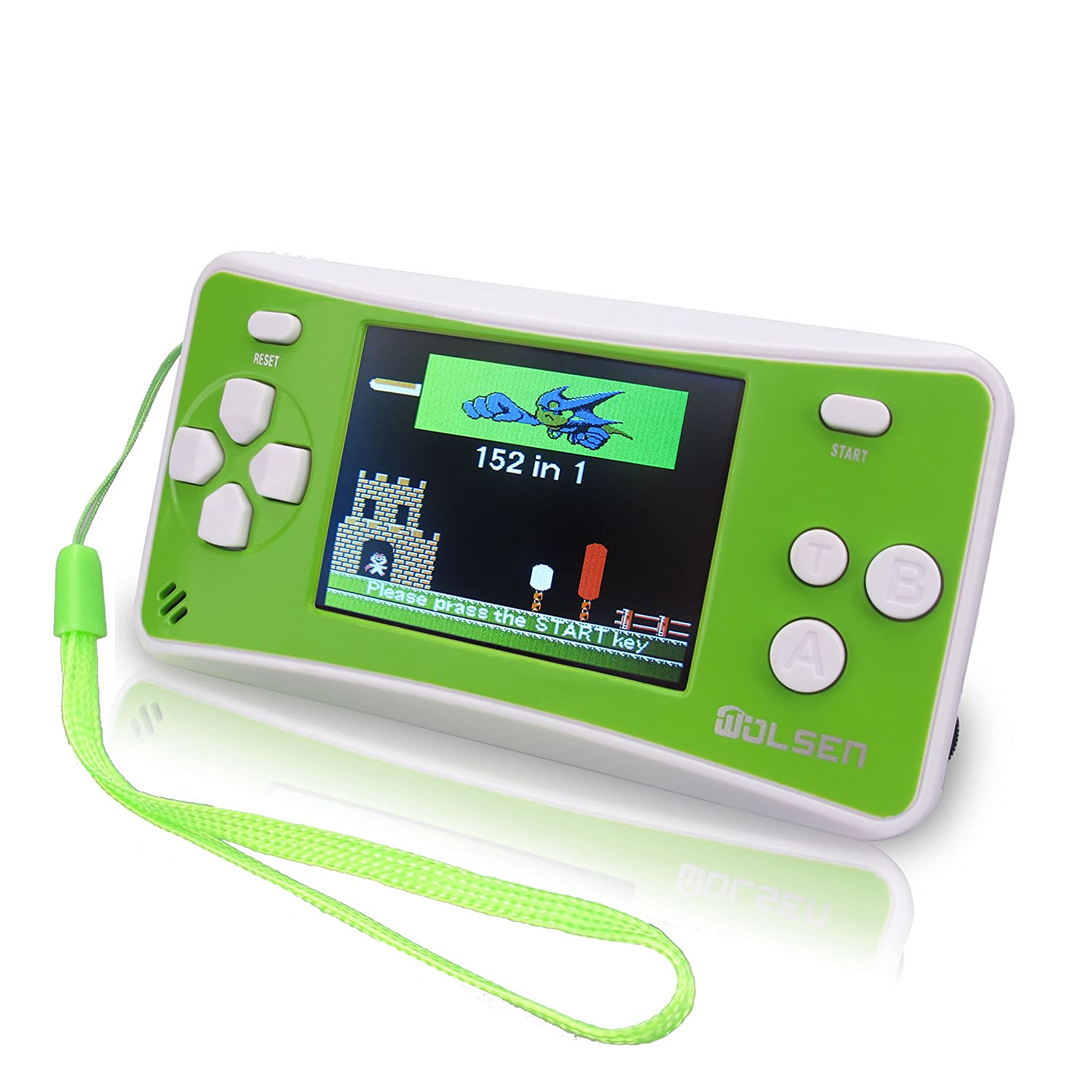 A picture of a hand-held console in yellow-green color.