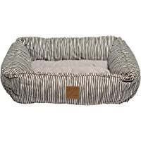 MOG & BONE Bolster Dog Bed Mocca Stripe Print Small