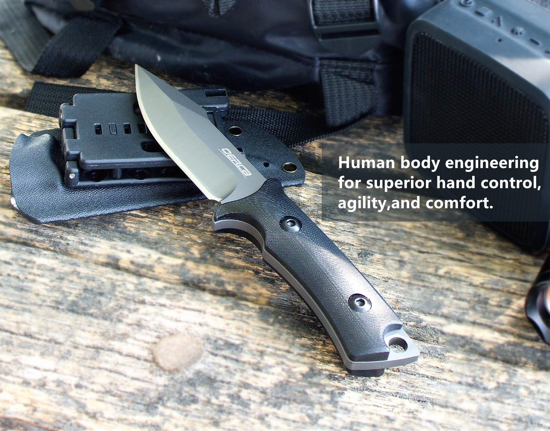 Oerla TAC OLF-1009 Fixed Blade Outdoor Duty Knife 420HC Stainless Steel Field Knife Camping Knife with G10 Handle Waist Clip EDC Kydex Sheath (Black) by Oerla (Image #5)
