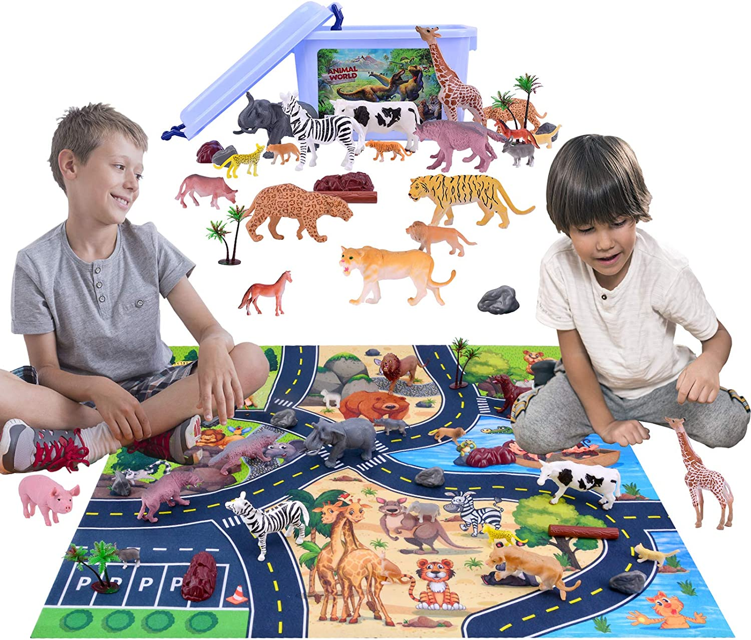 Lekebaby Animal Playset with 36 Realistic Animal Figures to Create an Animal World Great Educational Animal Toys for 3,4,5,6 Years Old Boys /& Girls