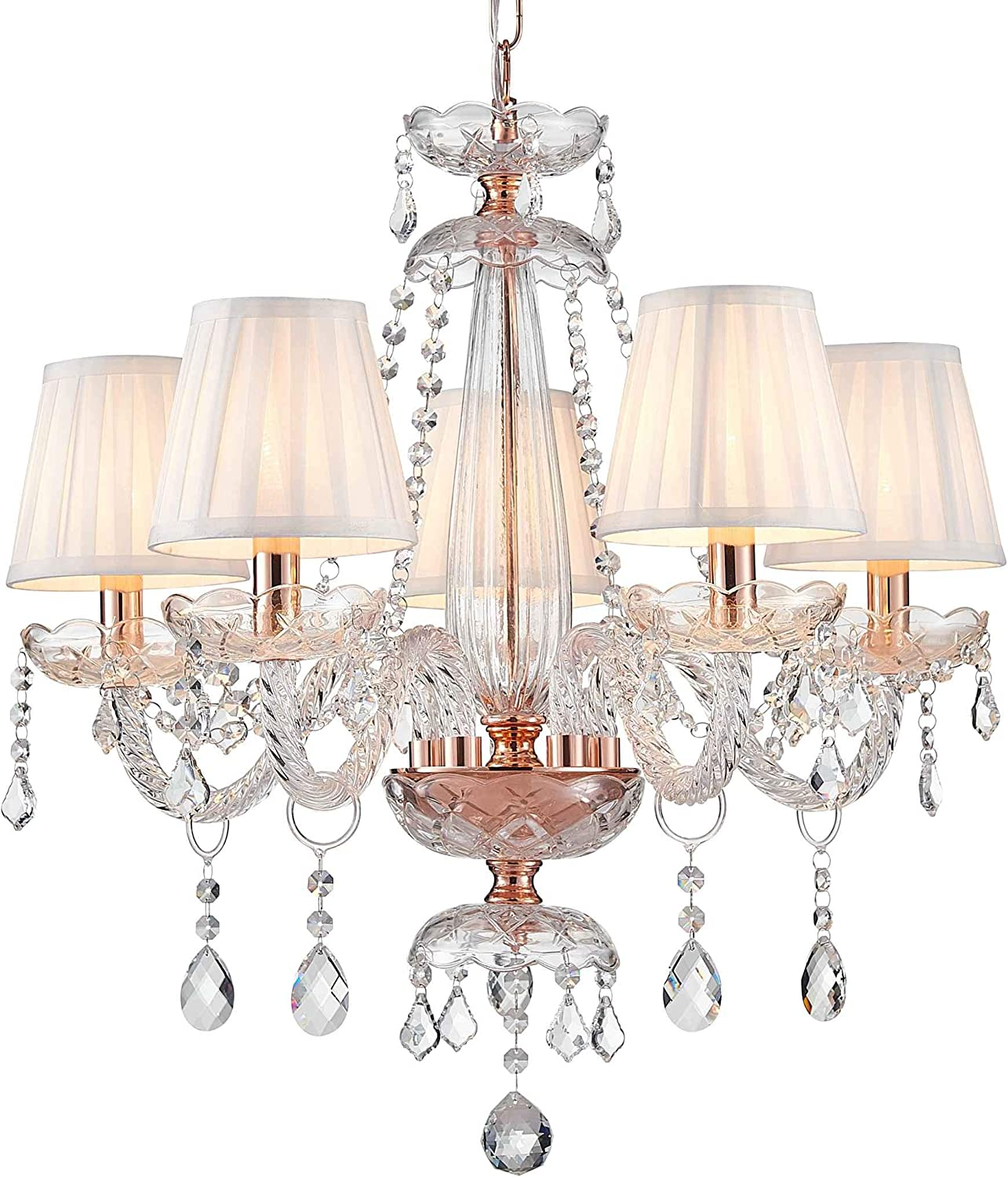 Saint Mossi Rose Gold K9 Crystal Chandelier Lighting LED Ceiling Light Fixture Pendant Lamp for Dining Room Bathroom Bedroom Livingroom 5 E12 LED Bulbs Required Height 24 x Width 25