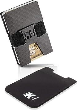 CARBON Kreditkartenetui mit Geldklammer Mini Portmonee RFID Schutz Slim Wallet