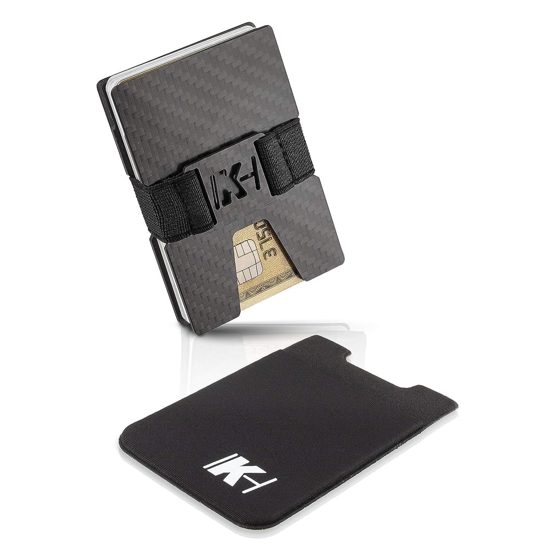 Slim Wallet Kartenetui 1 bis 20 Karten Geldb/örse Portmonee f/ür Minimalisten RFID NFC Schutz Carbon Geldklammer KartenHouse Kreditkartenetui aus Carbon mit Handy Kartenhalter