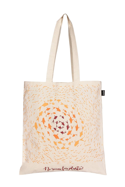 Eono Essentials - Bolsa al hombro de 100 % algodón, reutilizable y ecológica, con estampado «Flowers» Negro
