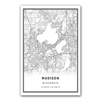 Madison map poster print modern black and white wall art scandinavian home decor