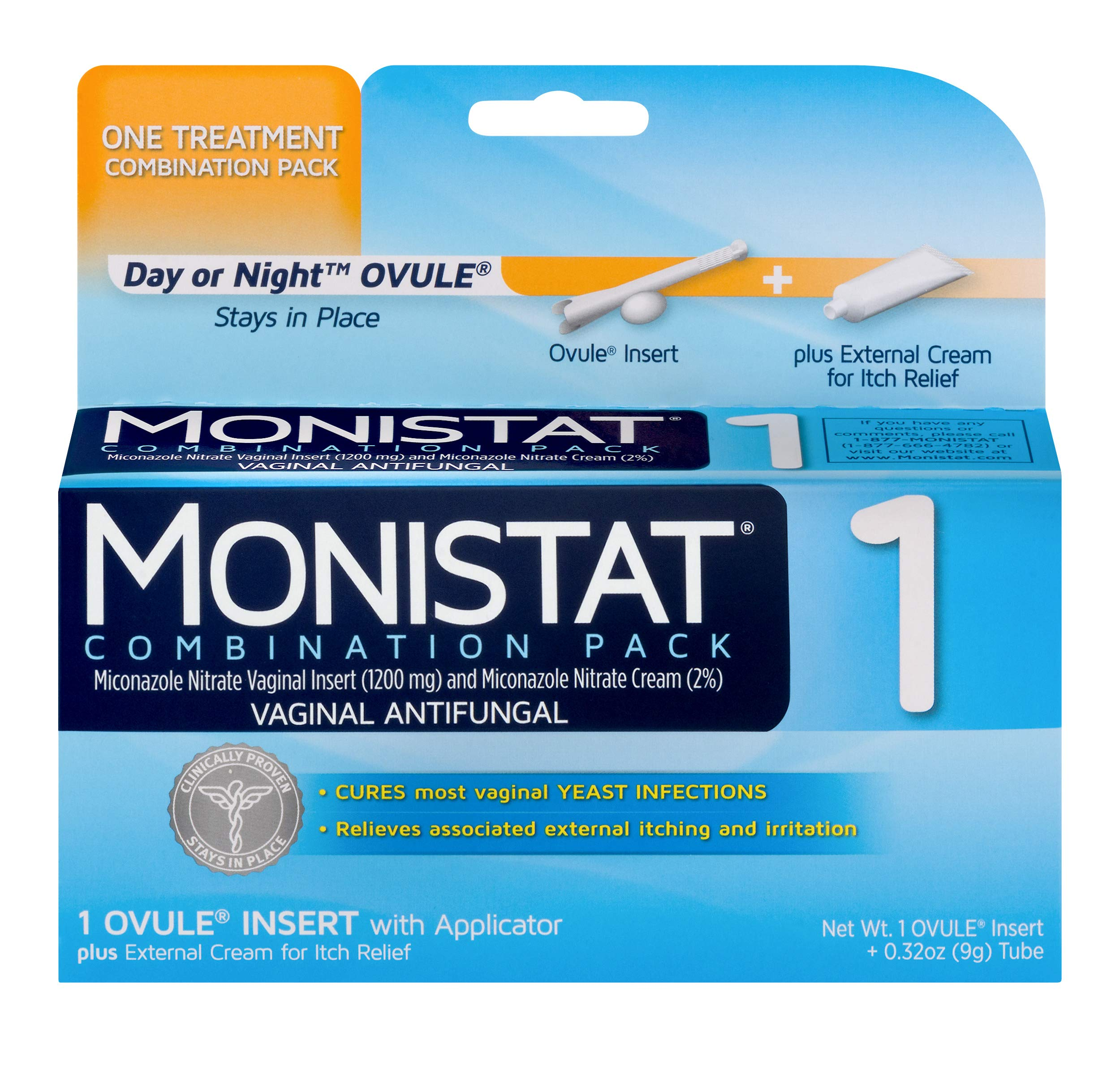 Monistat 1-Day Yeast Infection Treatment   Ovule + Itch Cream Combination Pack by MONISTAT
