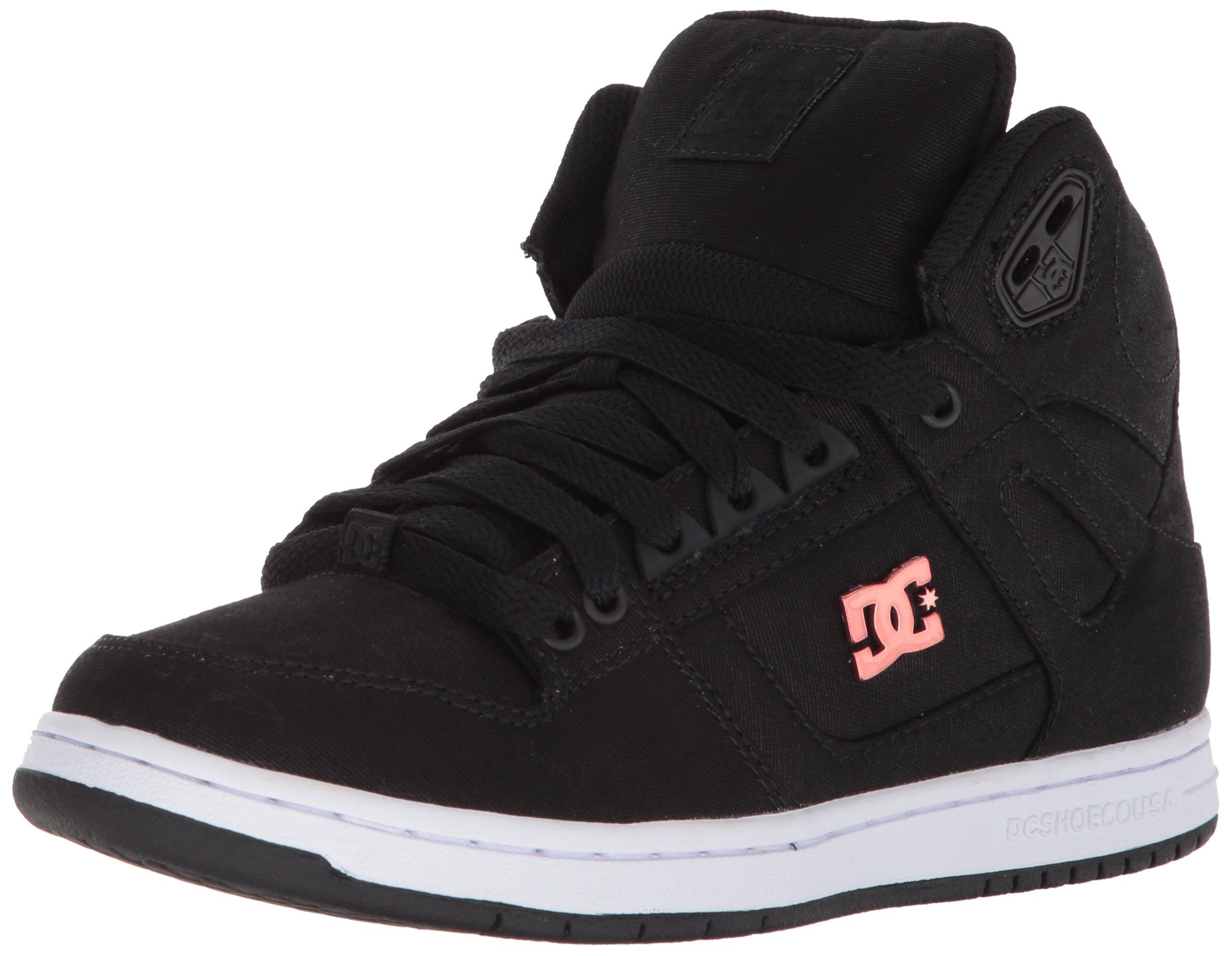 DC Women's Pure High-Top TX SE Skate Shoe, Black/Black/White, 7 B US