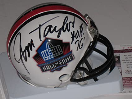 8ec44867d17 Image Unavailable. Image not available for. Color  Jim Taylor Autographed  Signed Pro Football Hall of Fame Mini Helmet ...