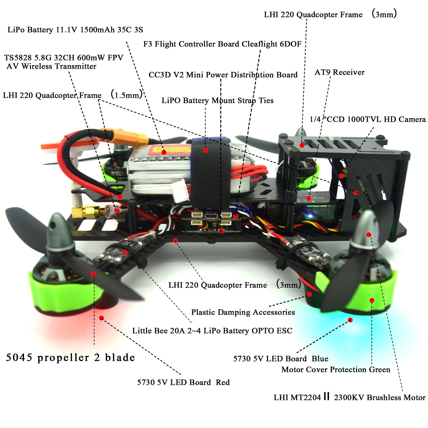 Lhi Fpv Rtf Full Carbon Fiber 220 Mm Quadcopter Race Wiring Diagram Cc3d Copter Racing Drone With Radiolink At9 Remote Controller 1000tvl Camera Ts5828 58g