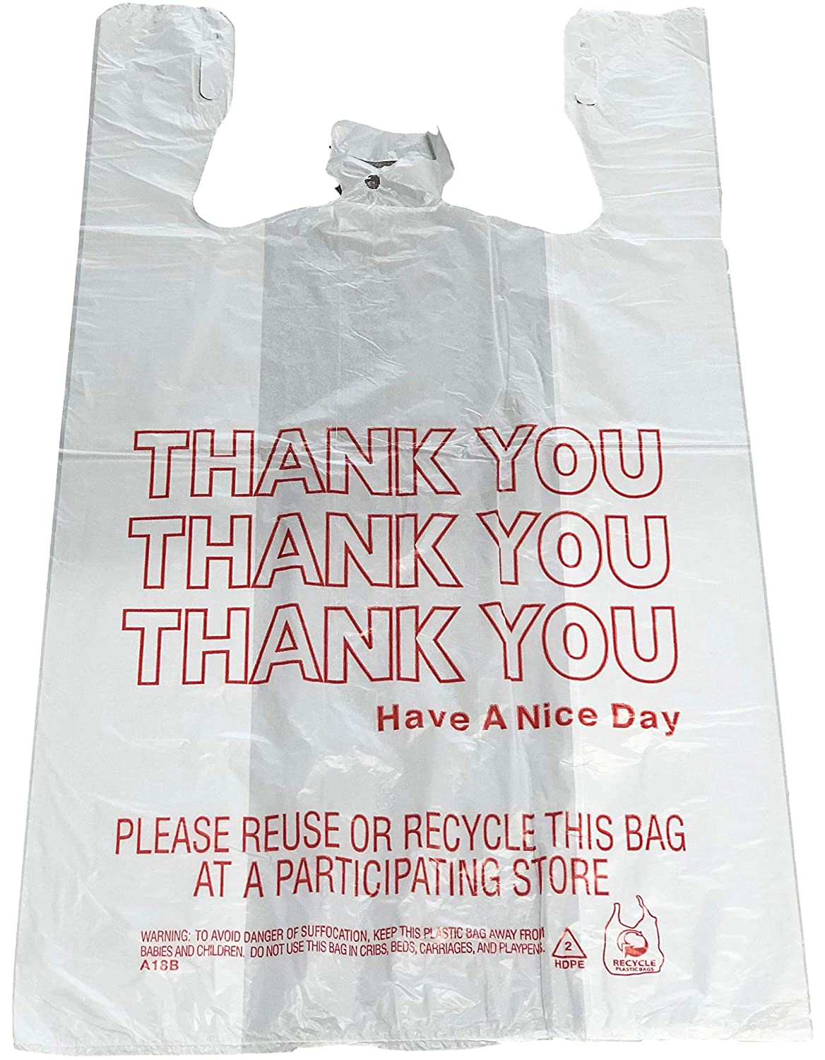 "Reli. Thank You T-Shirt Bags (350 Count), Plastic - Bulk Shopping Bags, Restaurant Bag - T-Shirt Plastic Bags in Bulk - (11.5"" x 6.5"" x 21"") White/Thank You"