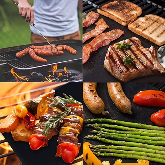 Charcoal Grill Mat 100/% Non-Stick BBQ Grill /& Baking Mats Gold and Black 13in*15.7in Works on Gas Black Electric Grill and More