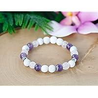 Amethyst & Rose Quartz Essential Oil Diffuser Bracelet, Gemstone Aromatherapy Bracelet Women