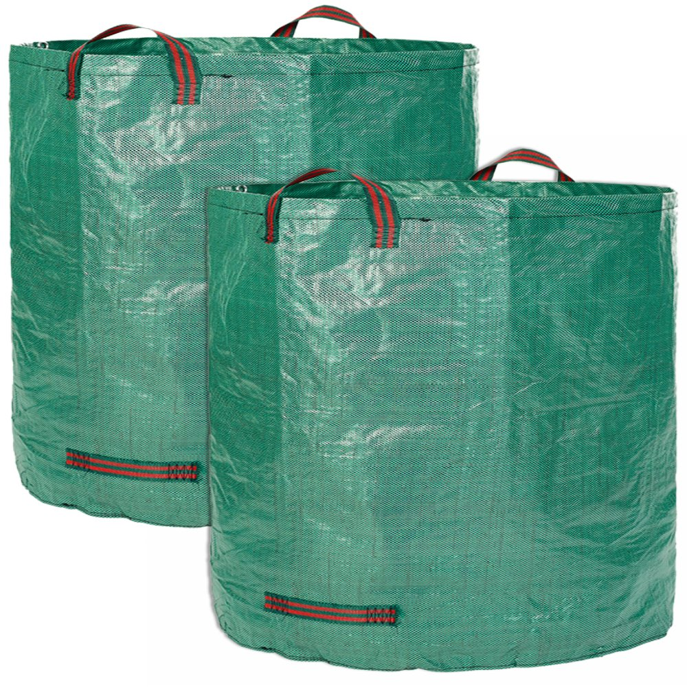 Glorytec 2-Pack Garden Bags - 132 Gallons Leaf Bag - Price-Performance Winner 2018 - Large Reusable Gardening Bagster with 4 Handles - Collapsible Lawn and Yard Waste Containers