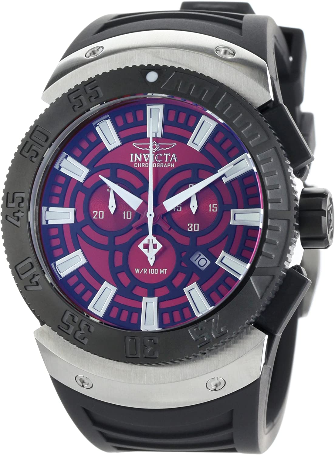 Invicta Men s 0660 II Chronograph Red Dial Black Polyurethane Watch