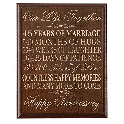 Amazon Parents 45th Wedding Anniversary Gifts Wall Plaque For
