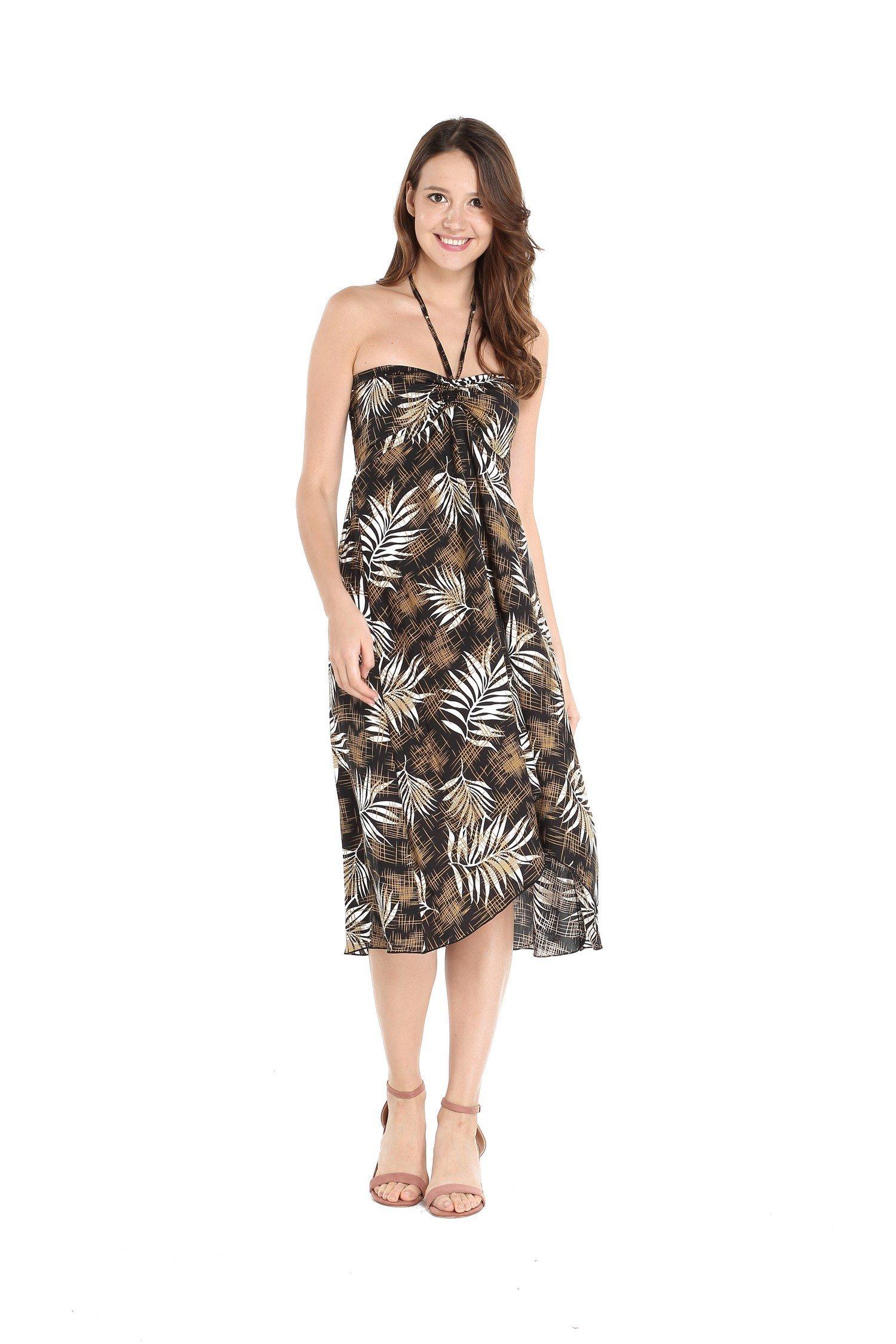 274324d29d97 Hawaii Hangover Women's Hawaiian Butterfly Luau Dress in Black Leaves 2XL