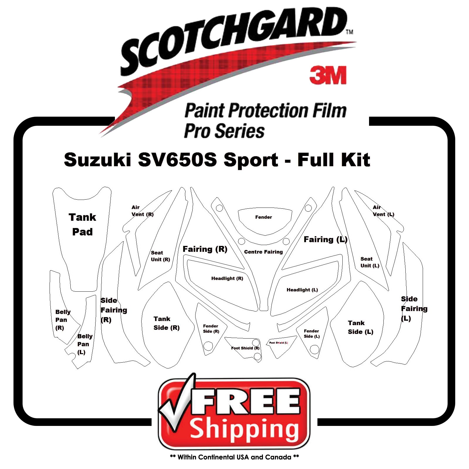 Kit for Suzuki SV 650 S Sport 06 - 3M 948 PRO SERIES Scotchgard Paint Protection by PrintsnPlots
