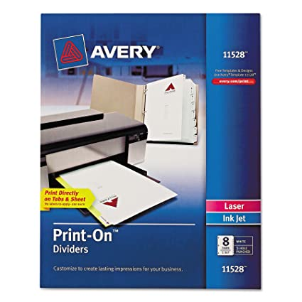amazon com avery print on dividers 8 tabs white laser ink jet