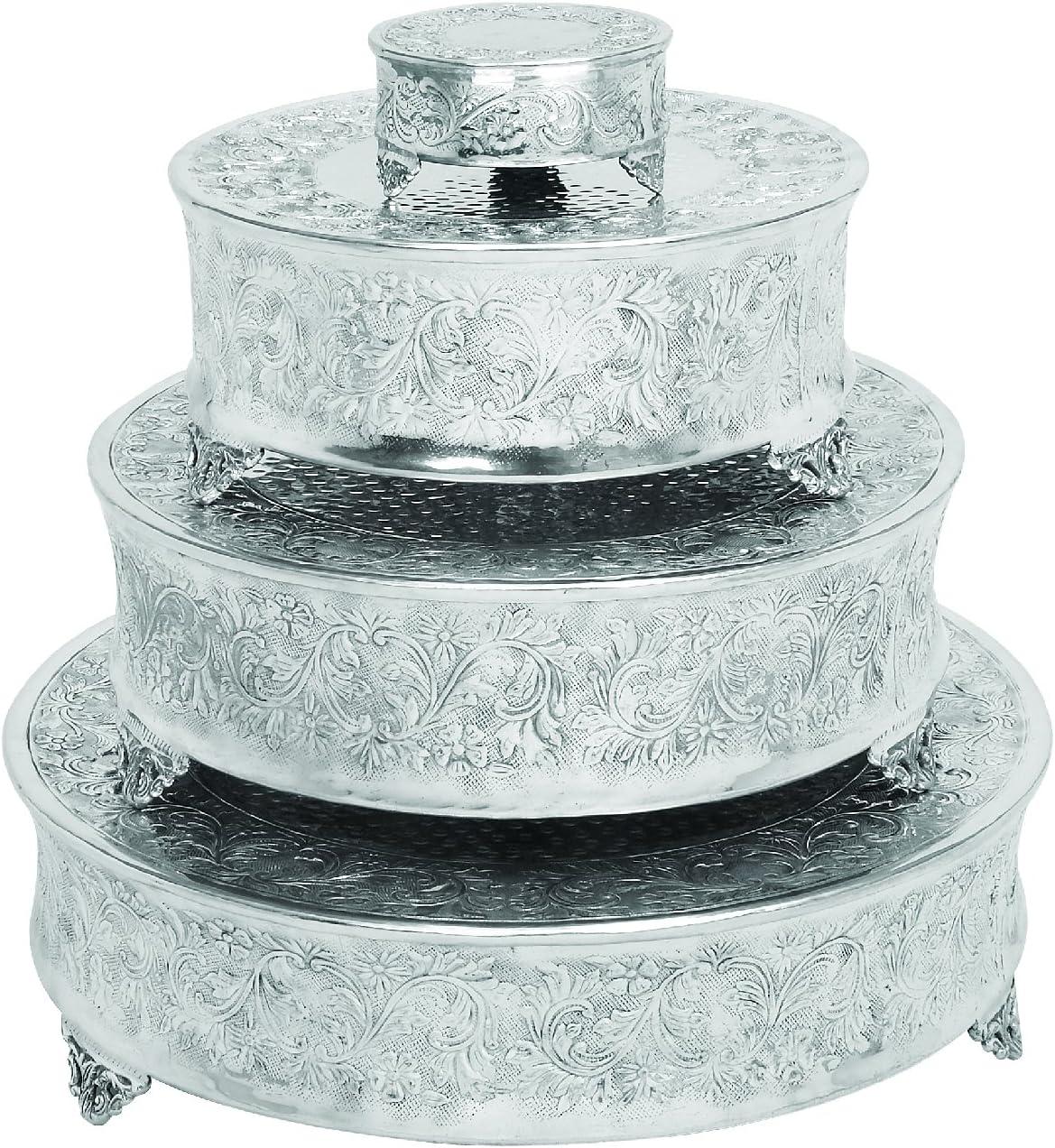 Set of 4 by Benzara Benzara Aluminum Cake Stand for Stylish Host