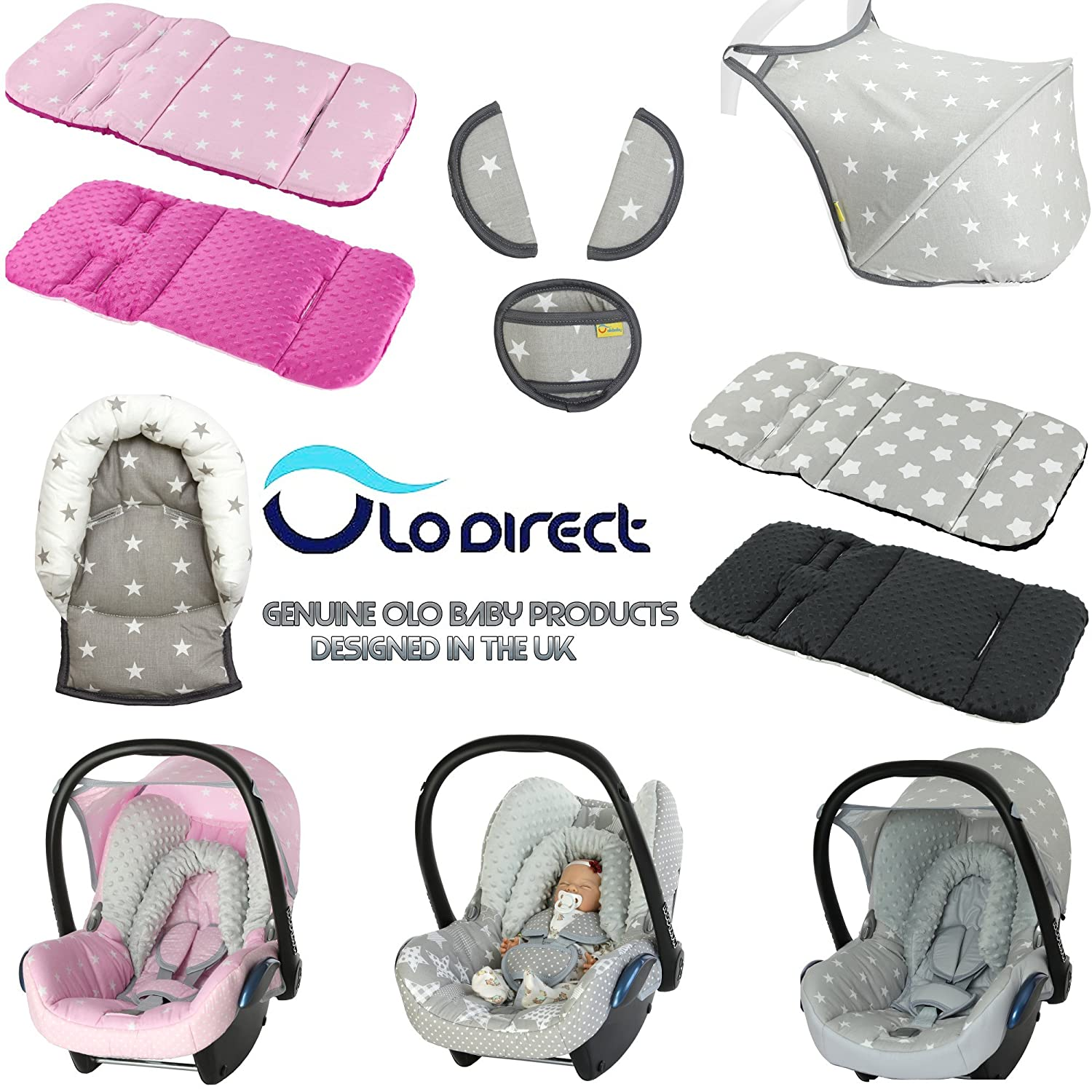 Universal Baby Stroller cosytoes Liner Buggy Luxury Padded Footmuff LG pink owl Cotton