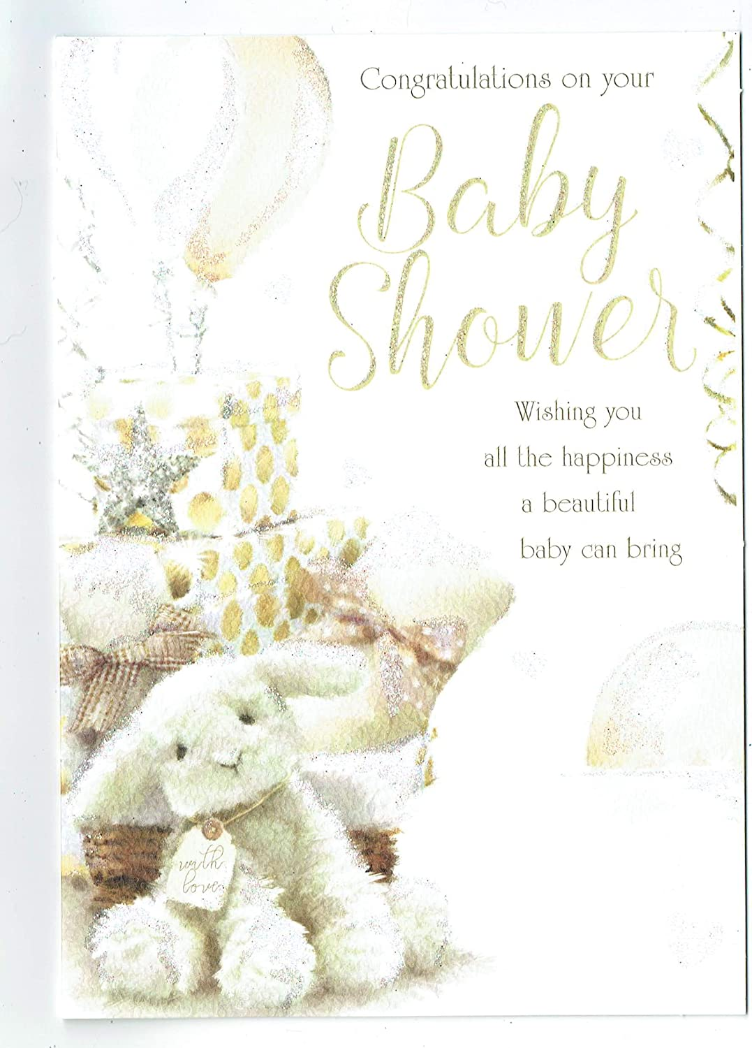 Baby Shower Card With Lovely Cream Gold And Glitter Design Out Of