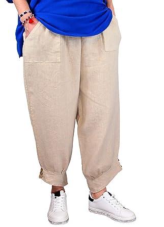 95672d1142889 Charleselie94® - Pantalon Femme Grande Taille Lin Beige Taupe FEMINA Beige:  Amazon.fr: Vêtements et accessoires