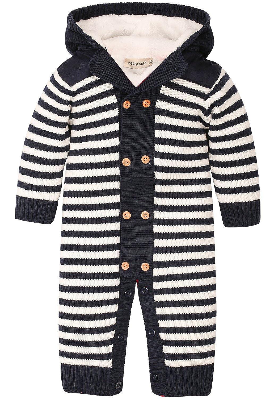 ZOEREA Newborn Baby Romper Jumpsuit Long Sleeve Christmas Sweater Deer 0-18M (Lable 90/Age 12-18months, Dark Blue) YS2037-DB-2A