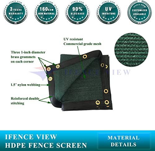 Ifenceview 3 x3 to 3 x50 Green Shade Cloth Fence Privacy Screen Fence Cover Mesh Net for Construction Site Yard Driveway Garden Pergolas Gazebos Canopy Awning UV Protection 3 x50