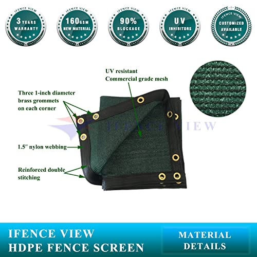 Ifenceview 4 x12 Green Fence Privacy Screen Fence Cover Shade Cloth Mesh Net Awning Canopy for Construction Site Yard Driveway Garden Pergolas Gazebos 165 GSM UV Protection