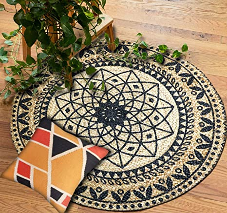 The Home Talk Traditional Rangoli Design Jute Braided Carpetrugdoormat With Black Print Size 80 Cm Round Diameter Best For Bedroomliving