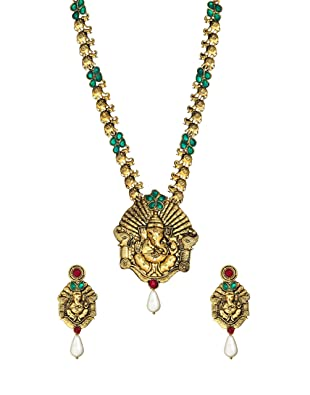Zaveri Pearls Pendant Necklace and Earrings Set For Women (Golden)(ZPFK357) Jewellery Sets at amazon