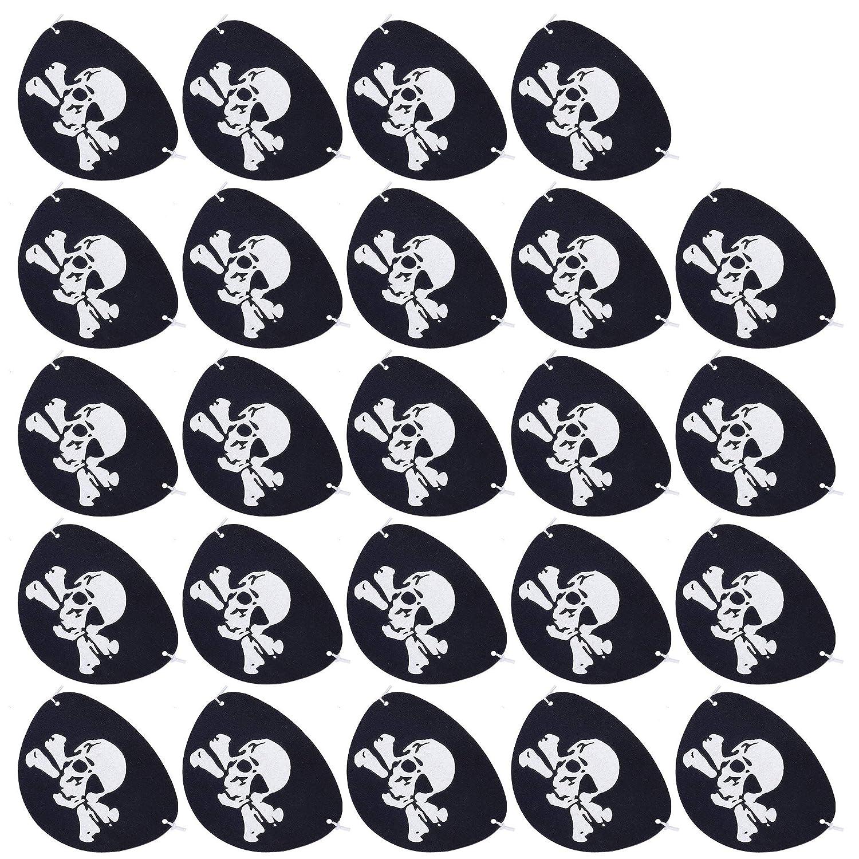 Cache-Oeil Pirate Noir Pirate Eye Patch pour Décoration de Fête d'halloween 24 Pièces