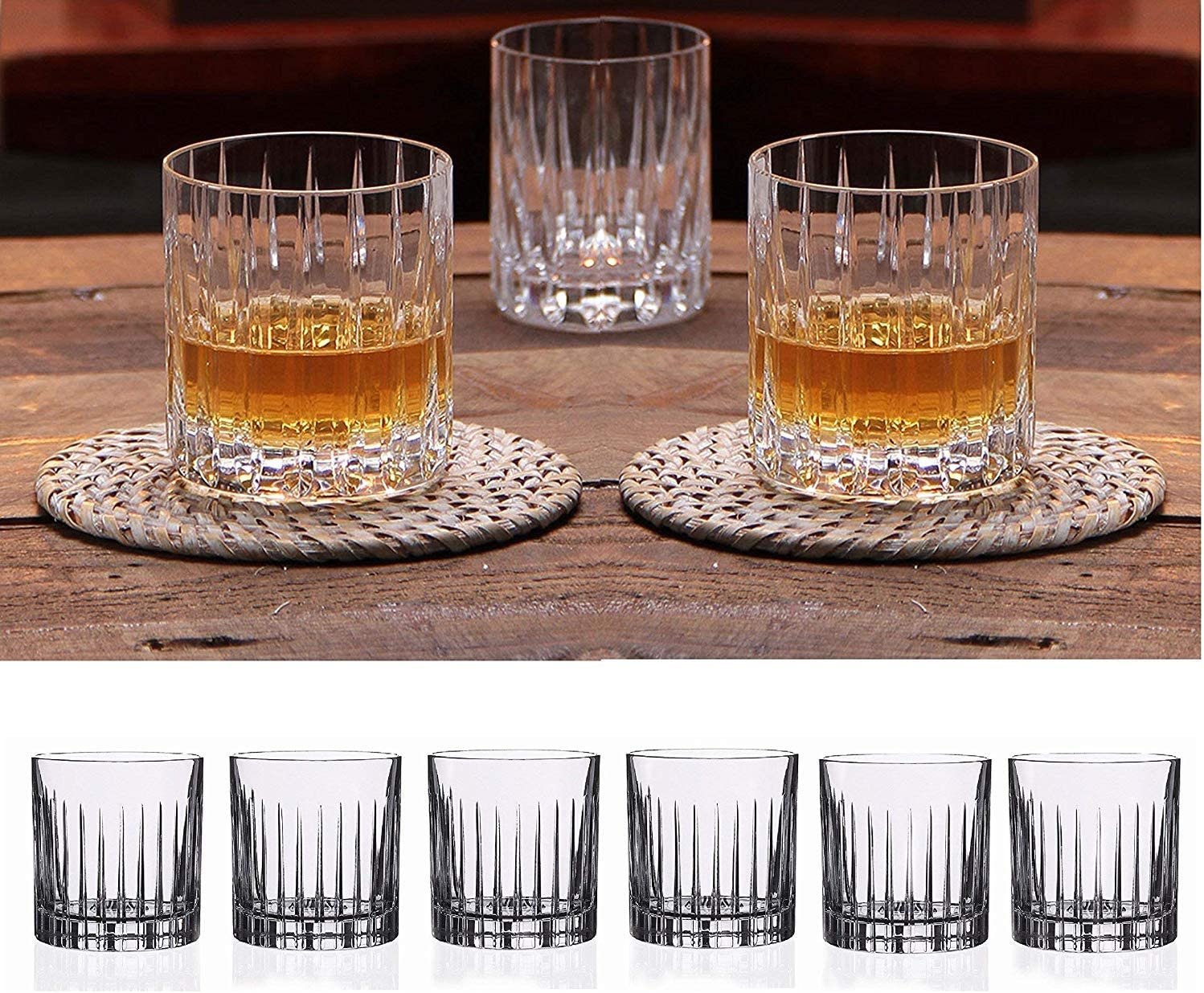 Amazon Com Double Old Fashioned Crystal Glasses Set Of 6 Whiskey Glasses Perfect For Serving Scotch Cocktails Or Mixed Drinks New York Pattern Liquor Decanters