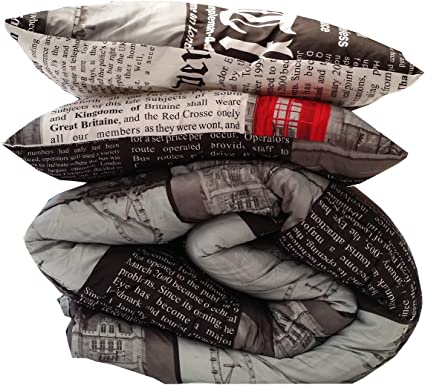 Pack couette microfibre temp/ér/ée 240x220 cm Design Londres Espritzen 2 oreillers 65x65 cm