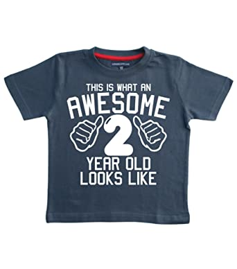 THIS WHAT AN AWESOME 2 YEAR OLD LOOKS LIKE Navy Boys 2nd Birthday T Shirt In Size 3 Years With A White Print Amazoncouk Clothing