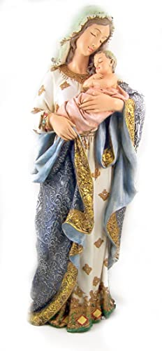 Religious 23 Inch Blessed Virgin Mary Madonna and Infant Jesus Christ Child Church Figure Statue
