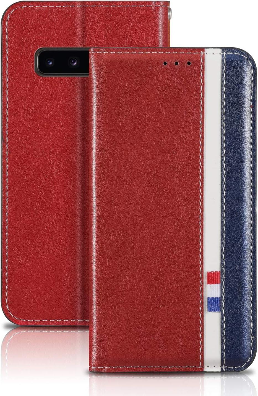 LORXZ010264 Rouge Housse en Cuir avec Porte Carte Fermeture par Rabat Aimant/é Antichoc /Étui Case pour Samsung Galaxy S10 5G//G977B Lomogo Coque Galaxy S10 5G Portefeuille