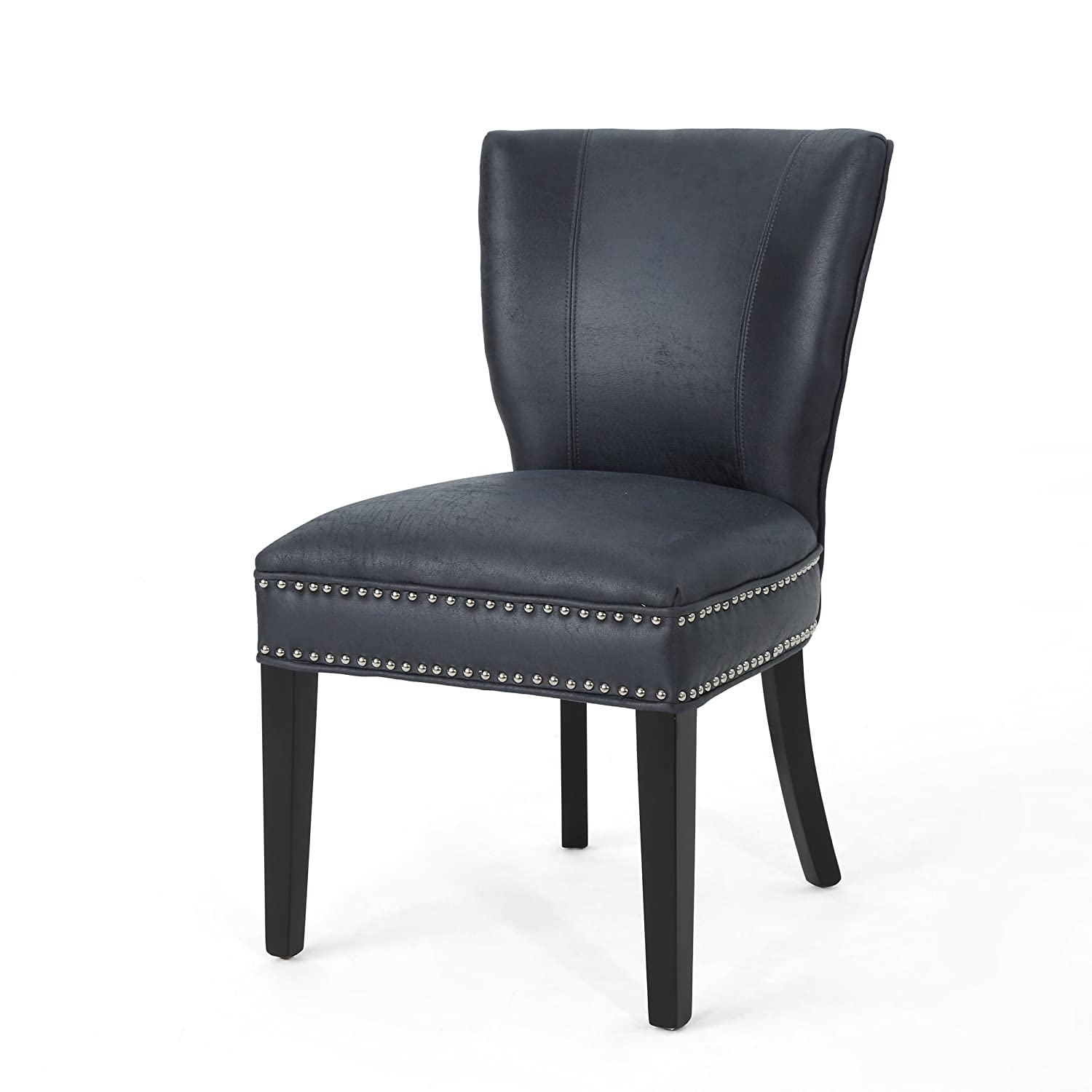 Christopher Knight Home Underwood Traditional Microfiber Dining Chair, Navy Blue