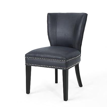 Amazon Com Underwood Traditional Microfiber Dining Chair Navy